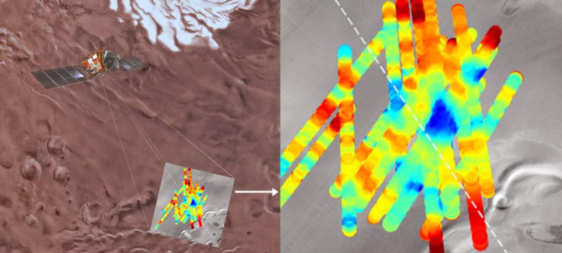 Detectan agua líquida bajo hielo marciano
