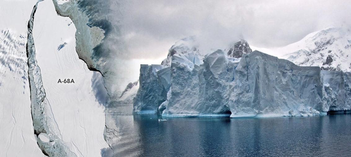 Iceberg, rumbo a colisionar con banquisa antártica
