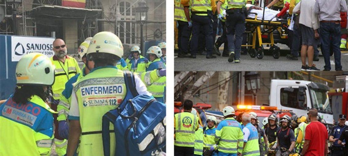Un muerto y 11 heridos por derrumbe en hotel de Madrid